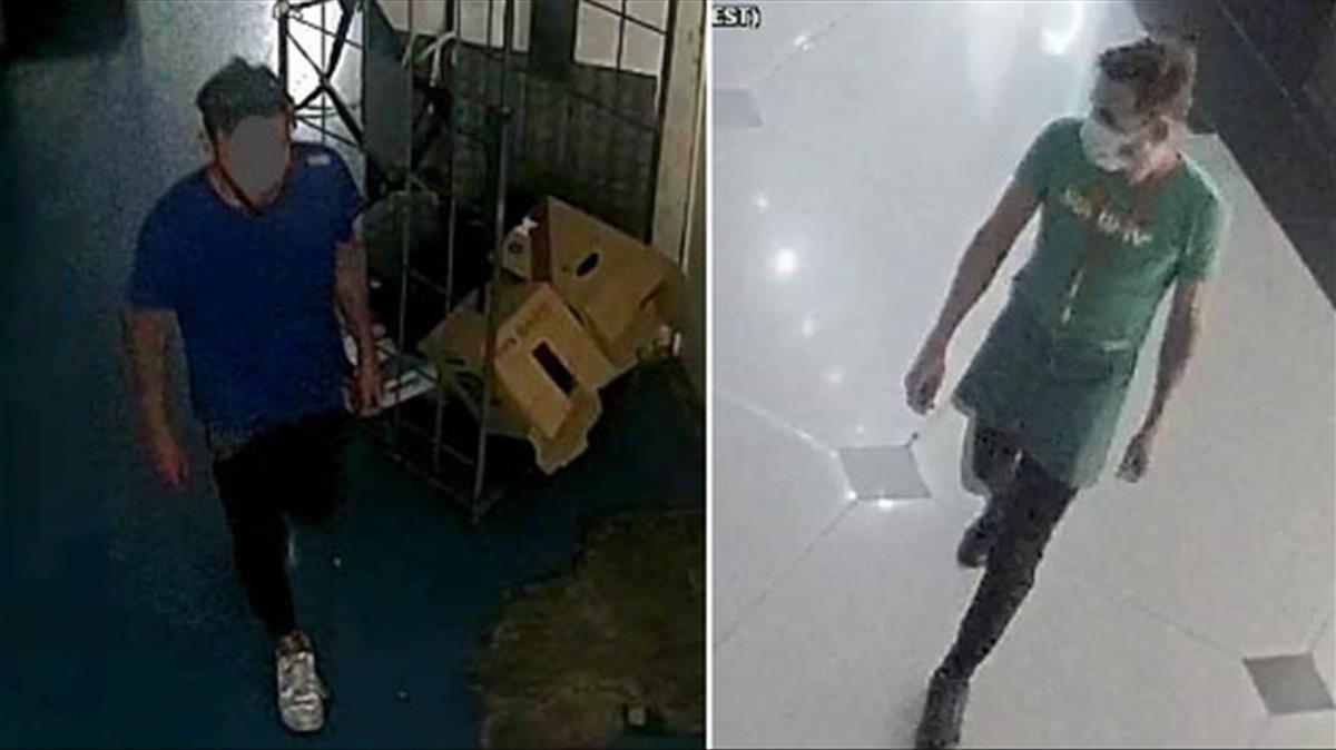 El presunto ladrón del centro comercial con la ropa con la que llegó y, poco después, disfrazado de camarero (derecha).