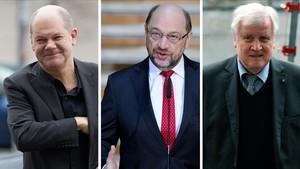 Olaf Scholz, Martin Schulz y Horst Seehofer