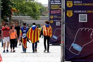 La fan zone de Barça en día de final de Copa.