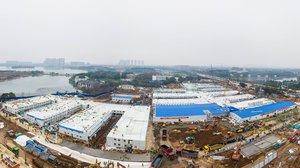 Foto aérea del hospital levantado por China en 10 días.