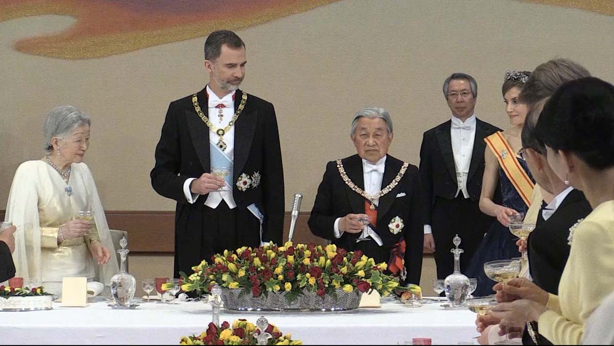 50 aniversario del rey Felipe VI: Brindis con el emperador Akihito.