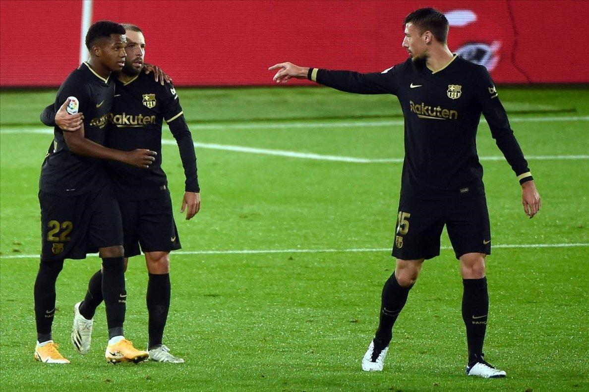 Ansu Fati celebra el primer gol ante el Celta