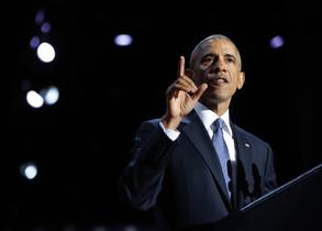 Barack Obama, durante su discurso de despedida en Chicago.