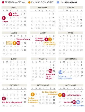 Calendario laboral de Fuenlabrada del 2020.