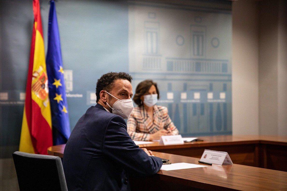 Carmen Calvo y Edmundo Bal en la reunión del pasado 12 de junio en la Moncloa.