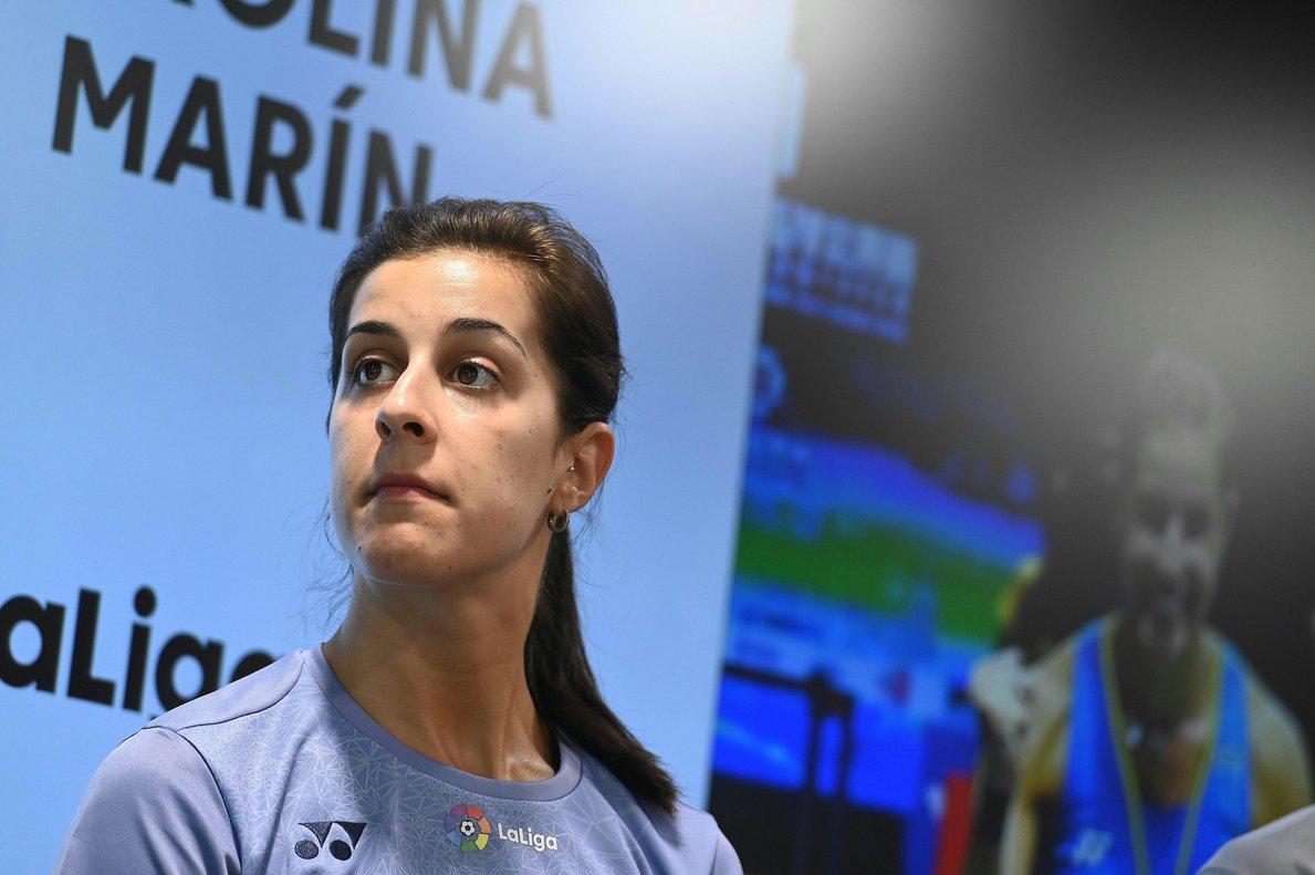 Carolina Marín, este lunes, en Madrid.