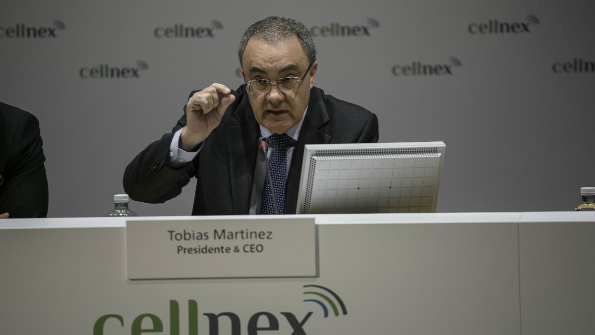 El consejero delegado de Cellnex, Tobías Martínez, en la presentación de resultados del ejercicio 2017.