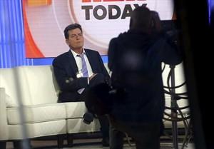 Charlie Sheen, en el plató del programa Today show de la NBC, en noviembre del 2015, donde confesó que tenía el VIH.