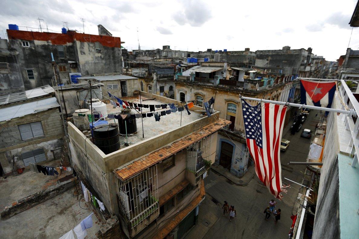 U Sand Cuban flags are seen on a balcony in HavanaCubaREUTERS Ivan Alvarado File Photo