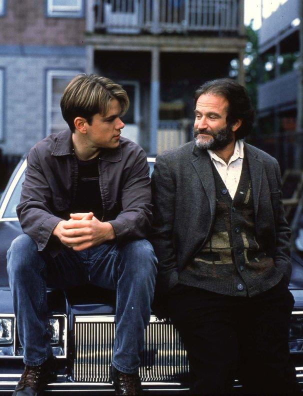 Damon, junto a Robin Williams, su profesor en 'El indomable Will Hunting'.