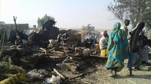 Destrucción en el campo de refugiados.