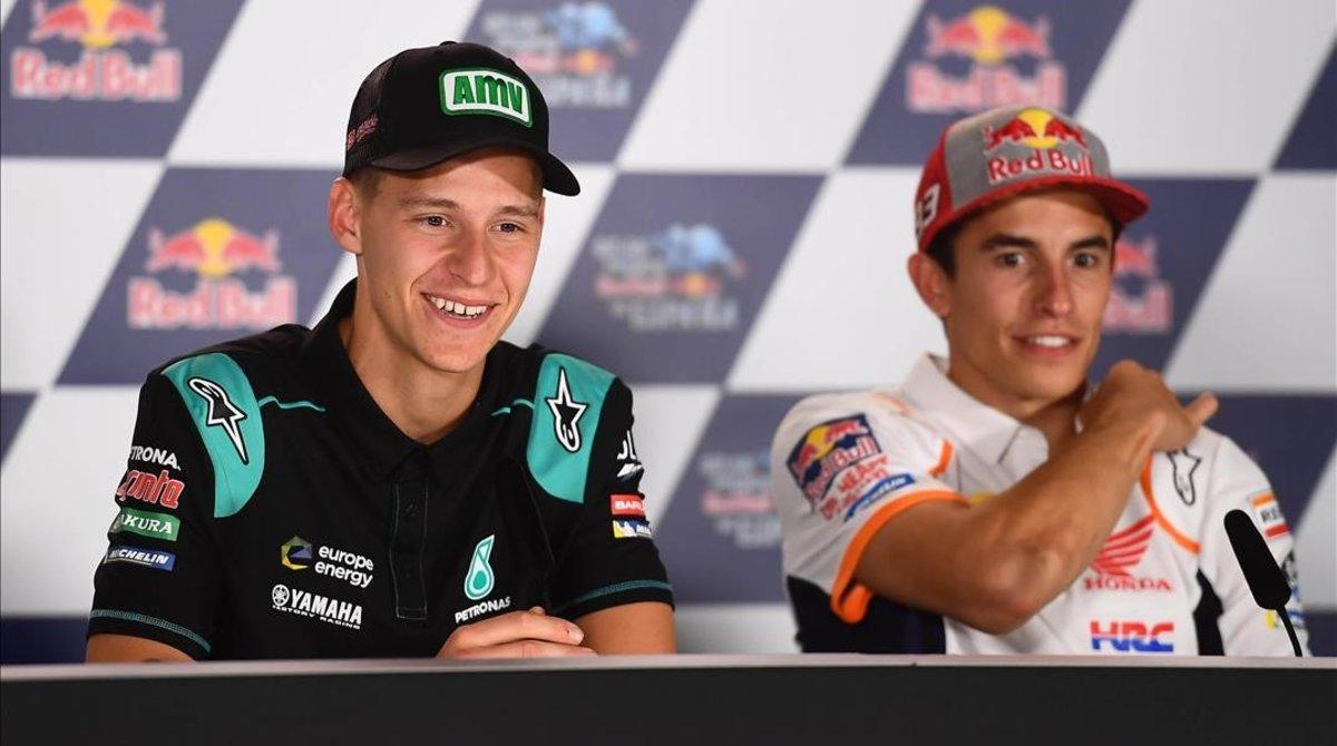 Fabio Quartararo (Yamaha) y Marc Márquez (Honda), en la conferencia de prensa de Catar.