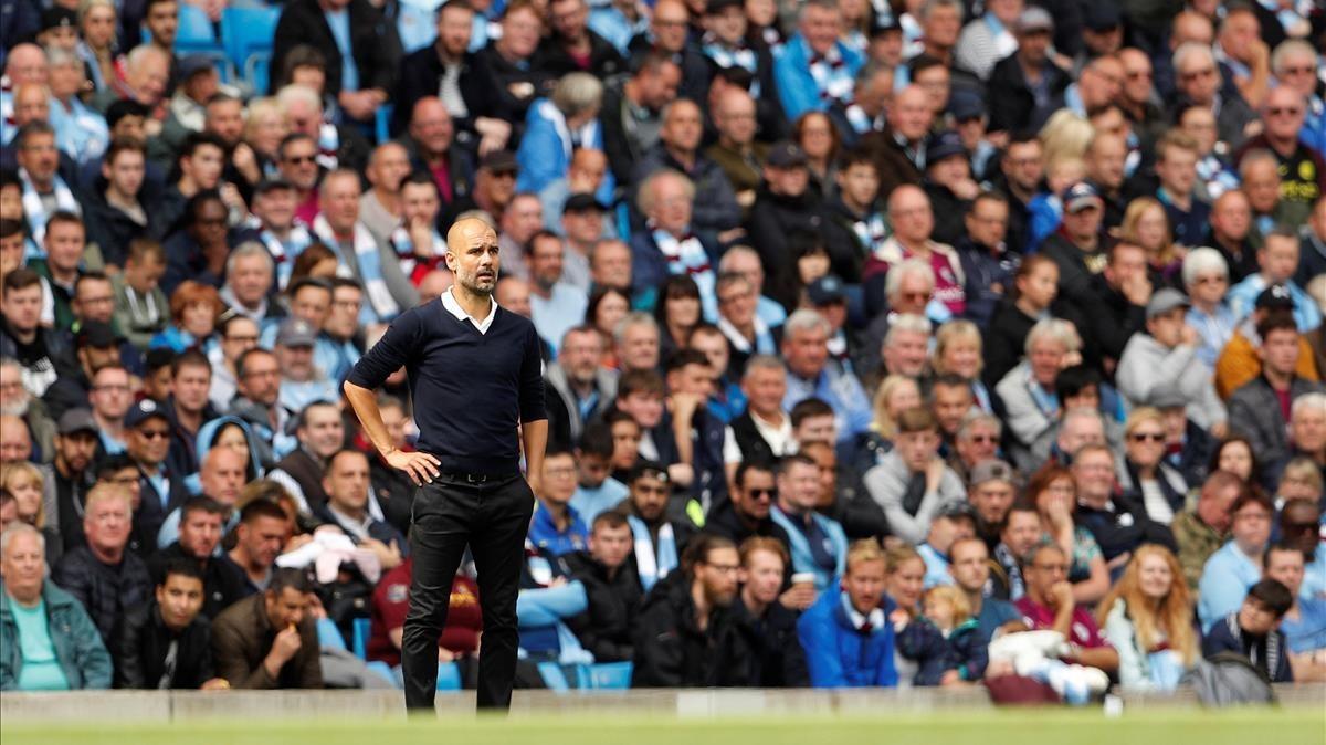 Guardiola, durante un partido de la Premier de esta temporada.