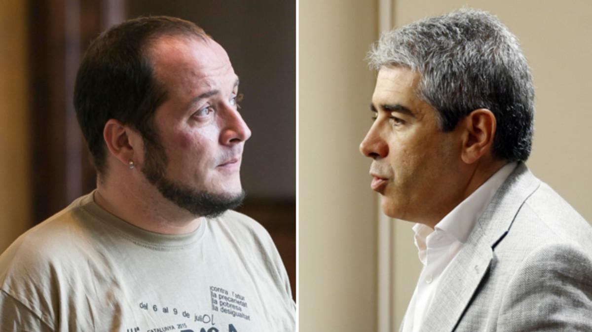 El exdiputado de la CUP David Fernàndez y el portavoz del Partit Demòcrata Català en el Congreso, Francesc Homs.