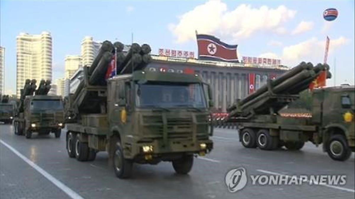Imagen de un vídeo de un desfile armamento militar norcoreano en Pionyang.
