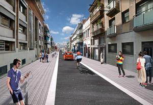 Imagenvirtual de la calle Dr. Pagès de Santa Coloma de Gramenet urbanizada.