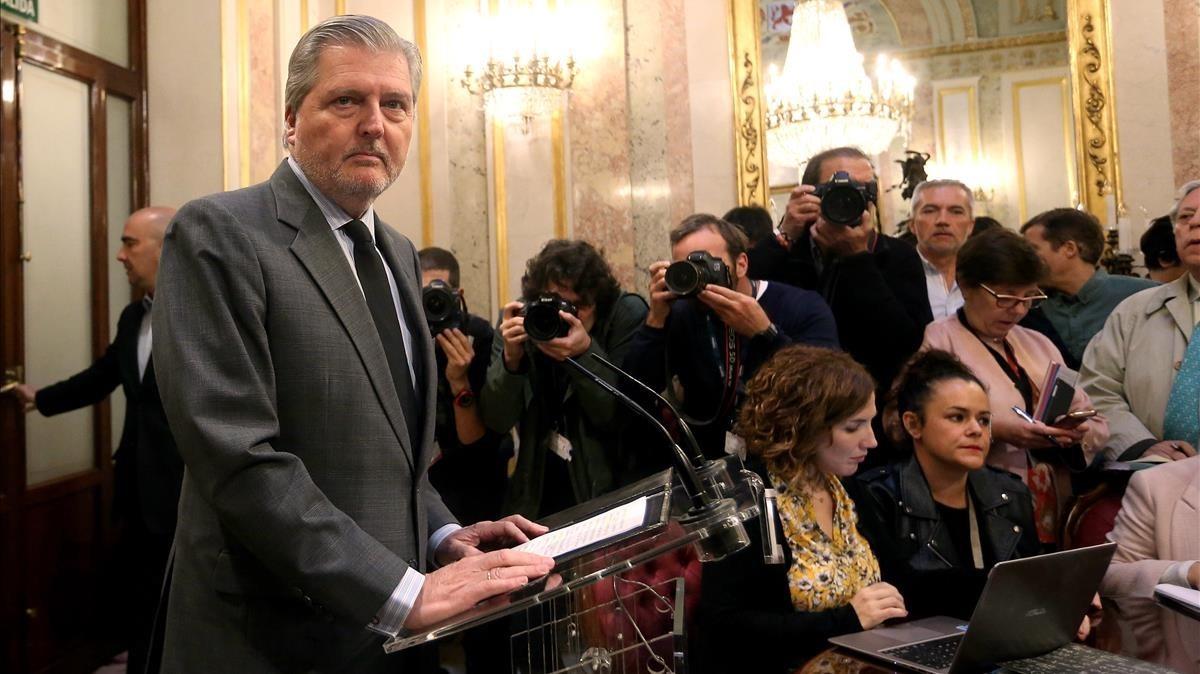 El portavoz del Gobierno,Íñigo Méndez de Vigo, este jueves en el Congreso.