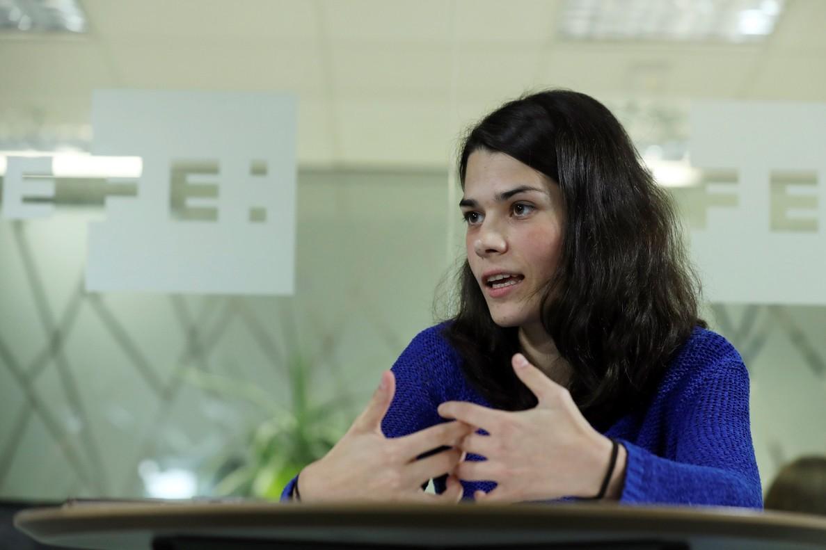 GRAF666 MADRID ESPANA 28 11 2017 - La diputada de Podemos en la Asamblea de Madrid Isabel Serra durante las declaraciones a la Agencia Efe esta tarde en Madrid EFE Sergio Barrenechea
