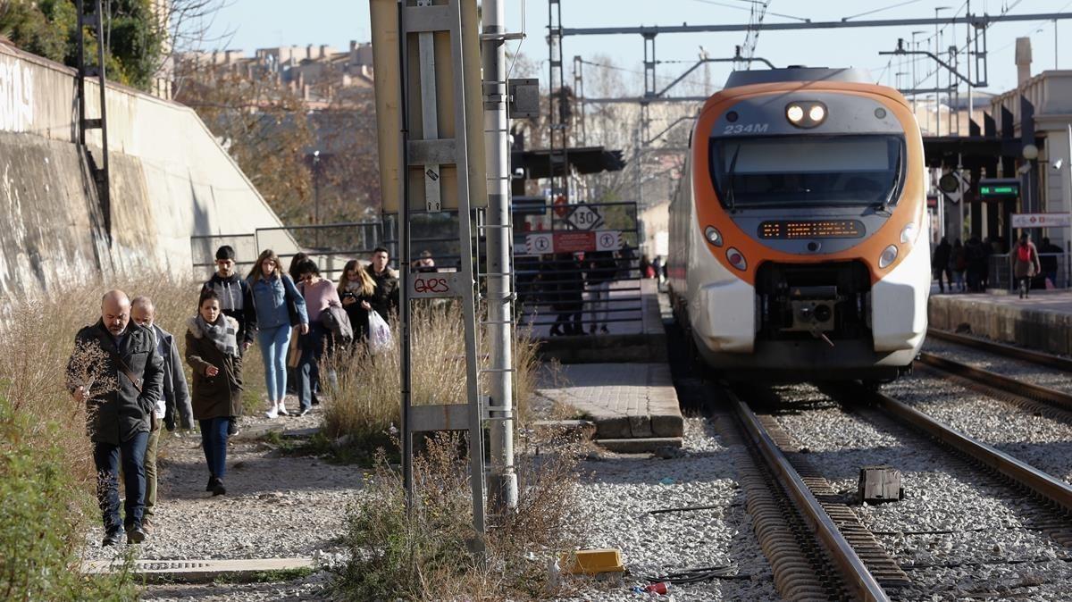 Las vías del tren en Sant Feliu de Llobregat.