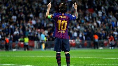 Messi se pone el traje en Wembley