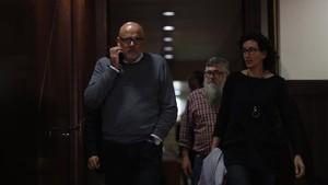 Lluís Corominas, Marta Rovira y Joan Garriga, este jueves, en el Parlament.
