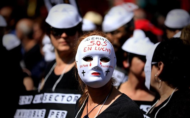Manifestante en laprotesta de Barcelona.