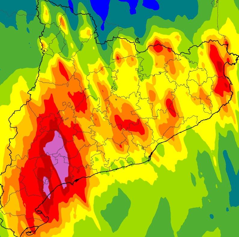 Intensidad de la precipitación acumulada entre el 22 y el 23 de octubre, con datos hasta las seis de la mañana