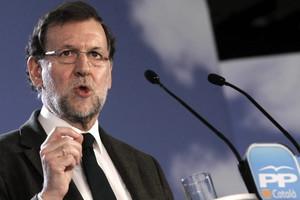 Mariano Rajoy, en un momento de su discurso, este sábado en Barcelona.