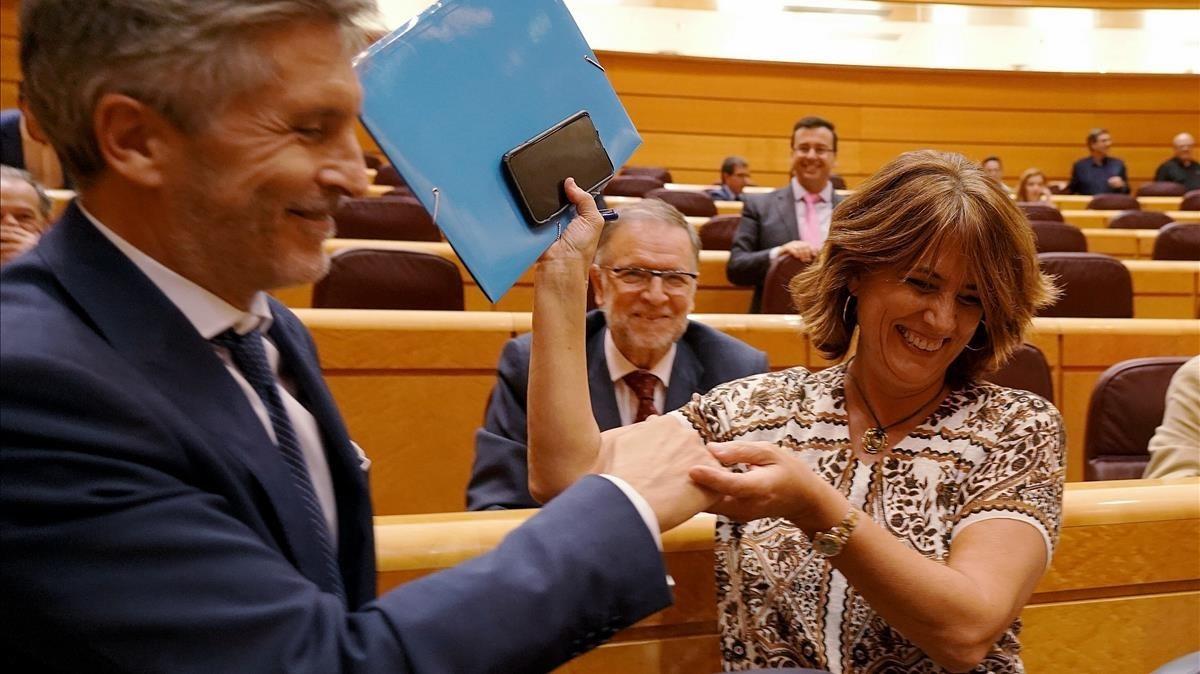 Marlaska, sobre los audios de Delgado con Villarejo: El Gobierno es como la GC, un equipo fuerte y consolidado