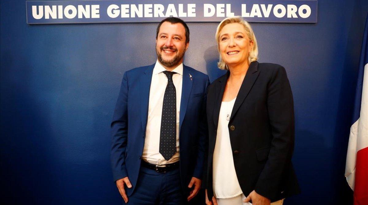 Matteo Salvini y Marine Le Pen en Roma.
