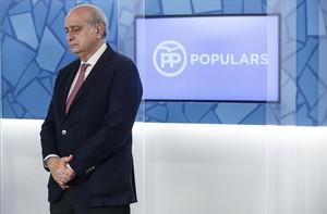 El ministro de Interior en funciones, Jorge Fernández Díaz, en una reciente junta directiva del PP catalán