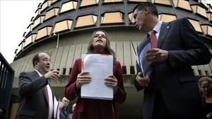 Miquel Iceta (PSC), Inés Arrimadas (Ciutadans) y Xavier García Albiol (PPC).