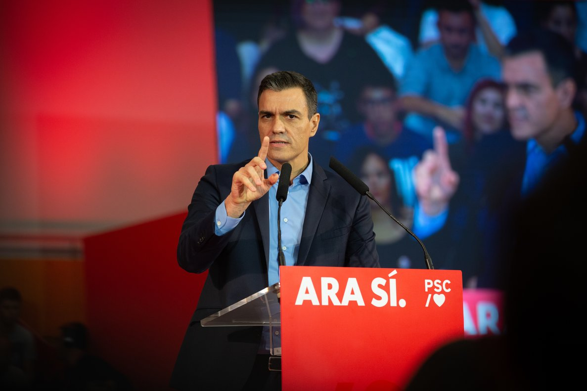 El presidente del Gobierno en funciones Pedro Sánchez interviene en un acto político en Viladecans (Barcelona), a 30 de octubre de 2019.