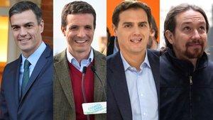 Pedro Sánchez, Pablo Casado, Albert Rivera, Pablo Iglesias.