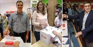 Pedro Sánchez, Susana Díaz y Patxi López, en el momento de votar en las primarias del PSOE, este domingo.