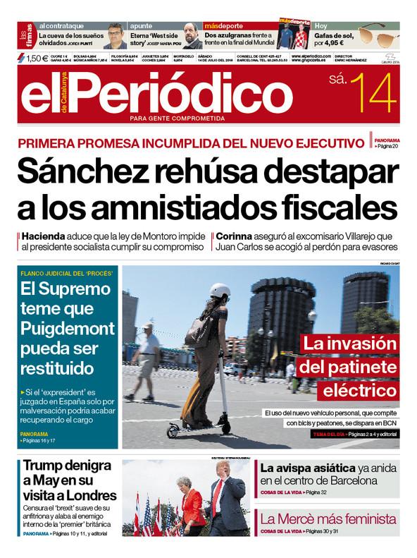 La portada de EL PERIÓDICO del 14 de julio del 2018