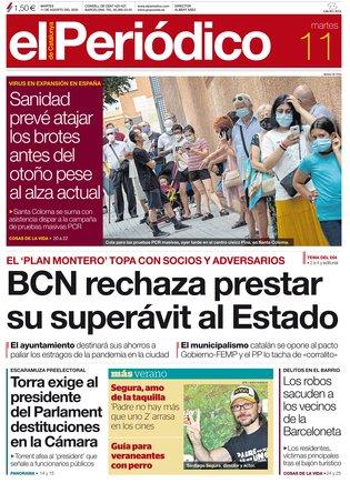 La portada de EL PERIÓDICO del 11 de agosto del 2020