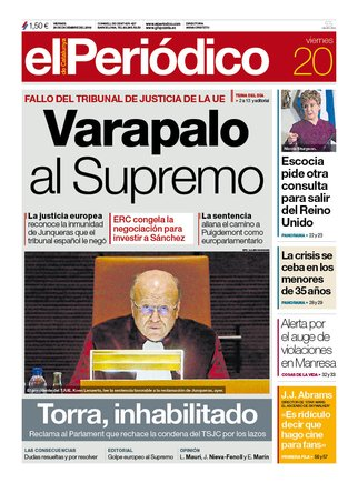 La portada de EL PERIÓDICO del 20 de diciembre del 2019.