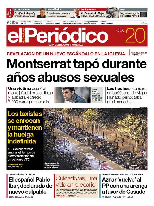 La portada de EL PERIÓDICO del 20 de enero del 2019.