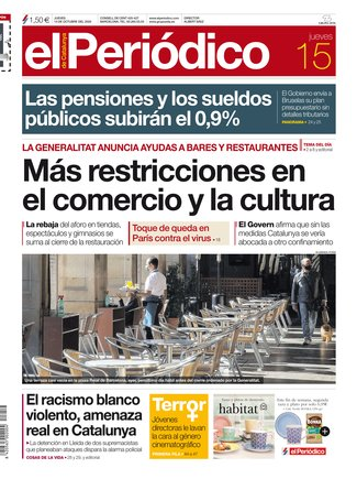 La portada de EL PERIÓDICO del 15 de octubre del 2020.