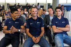 GRAF2262. MADRID, 18/06/2018.- Los ciclistas Nairo Quintana, Alejandro Valverde y Mikel Landa (i a d), durante la presentación del equipo Movistar para el próximo Tour de Francia, esta mañana en Madrid. EFE / Rodrigo Jimenez