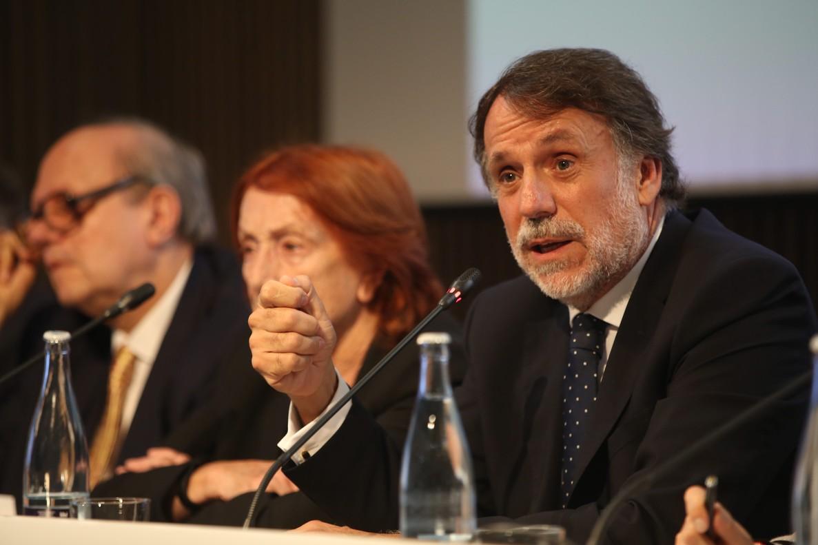 El presidente del Grupo Planeta, Josep Creuheras, en el almuerzo de presentación del Premio Planeta.