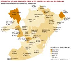Los resultados de las primarias del PSOE en Catalunya, por municipios