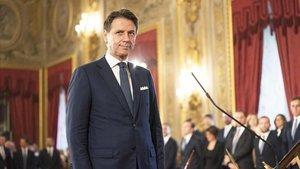 El primer ministro italiano, Giuseppe Conte, durante la toma de posesión, este jueves en el palacio del Quirinale.