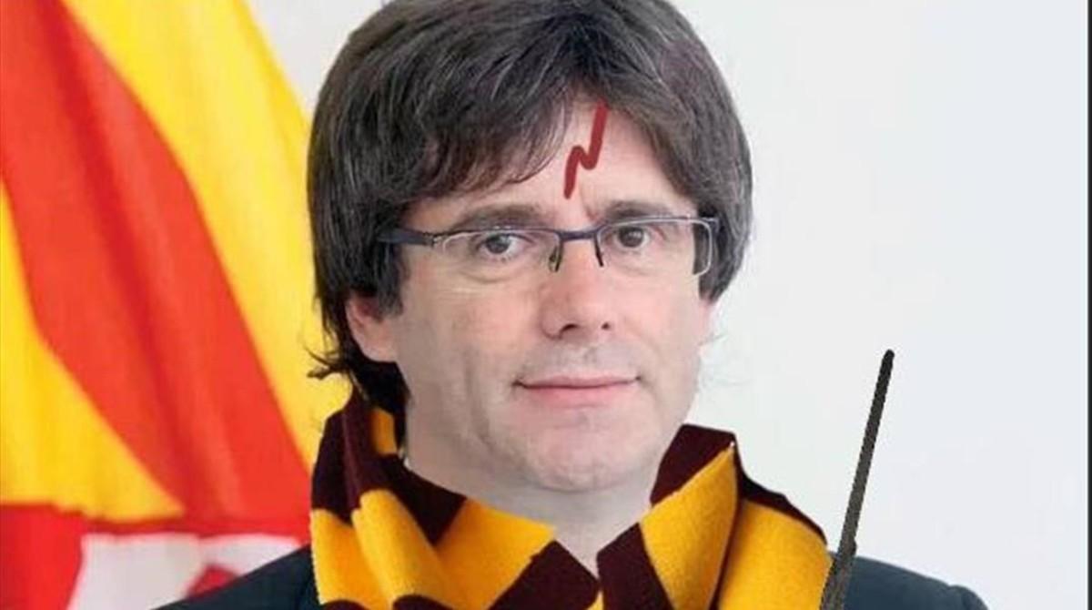 Puigdemont protagoniza este meme en el que aparece caracterizado de Harry Potter.