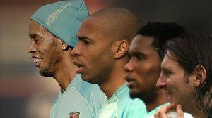 Ronaldinho, Henry, Etoo y Messi, la primera fórmula de los cuatro fantásticos, en el 2007.