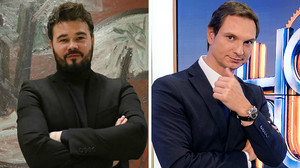 El diputado de ERCGabriel Rufián y el presentador de radio y televisión Javier Cárdenas.