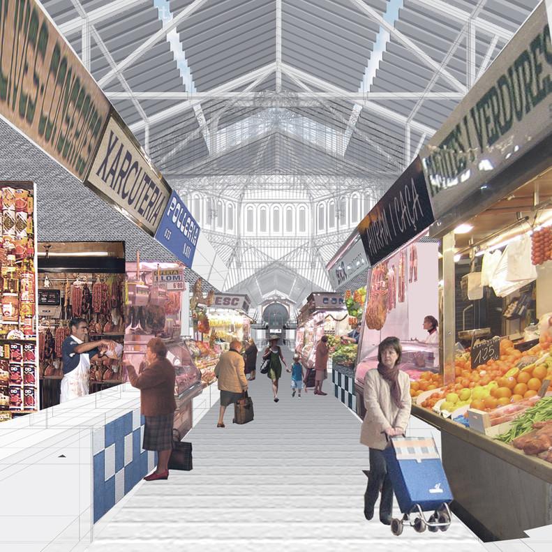 Imagen virtual de la zona de alimentación del futuro mercado de Sant Antoni.