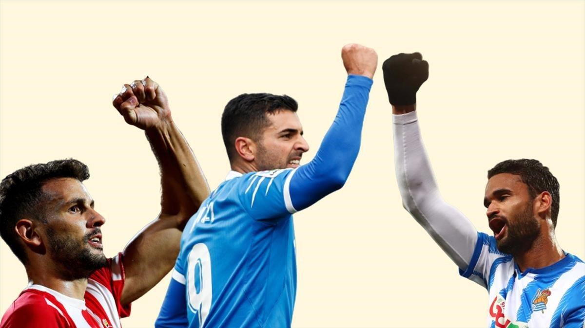 Stuani (Girona), Ángel (Getafe) y Willian José (Real Sociedad).