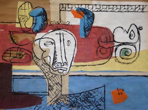 TAUREAU (1960) Una de las piezas de la serie de 1960 dedicada al minotauro y a la mujer, donde ambas figuras de complementan, se funden y se confunden. La tela funciona vertical y horizontalmente.